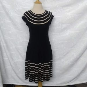 Kate Spade NY Black Strip Boat Neck Dress